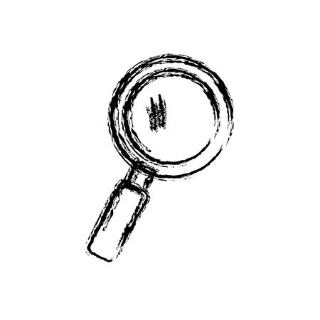 inspector: Magnifying glass icon over white background. Vector illustration.