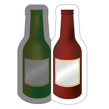 Beer bottles over white background. Vector illustration. Illustration