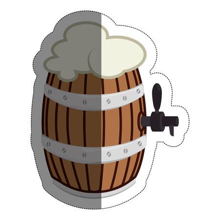 beer barrel icon over white background. vector illustration