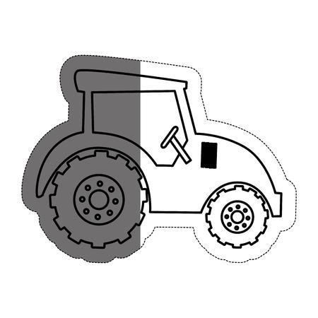 白い背景上のファーム トラクター アイコンの芸術的なイラスト。ベクトル図  イラスト・ベクター素材