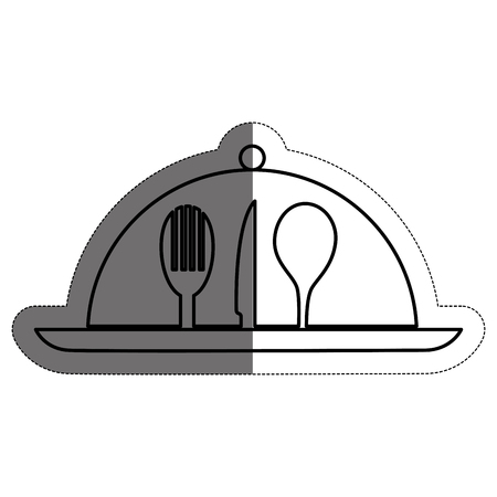 Restaurant emblem with cutlery icons over white background. vector illustration Illustration