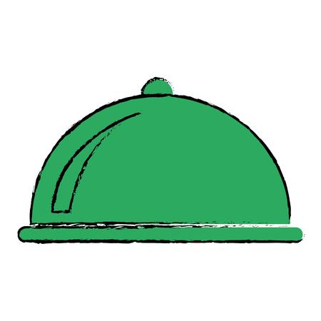 Green platter icon over white background. vector illustration