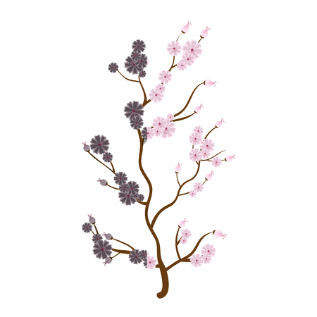 sakura japanese plant icon vector illustration design