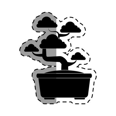 hardy: cute bonsai tree icon vector illustration design