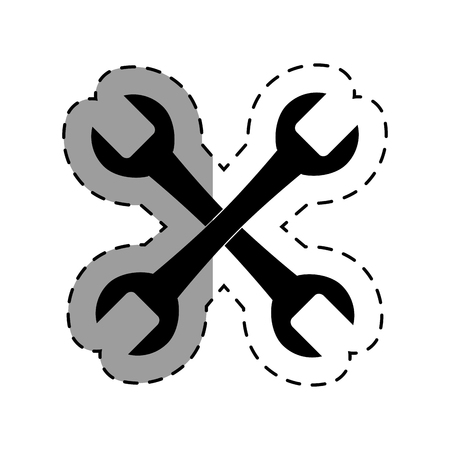 tooling: wrench key tool icon vector illustration design