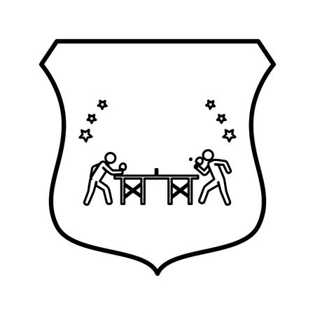Ping pong player avatar shield vector illustration design. Illustration