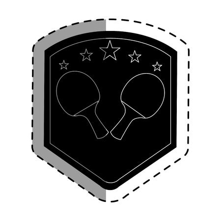 Ping pong rackets emblem vector illustration design.