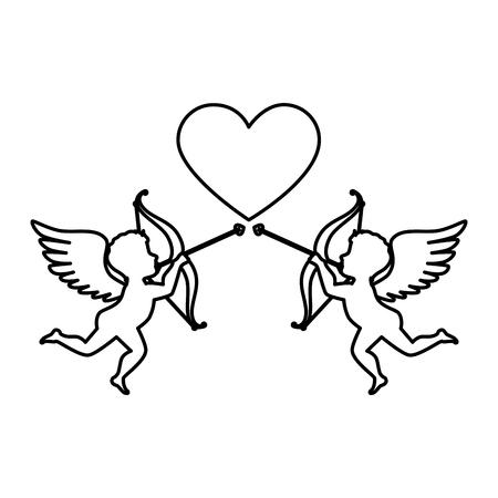 Love card with cupid angel vector illustration design. Illustration
