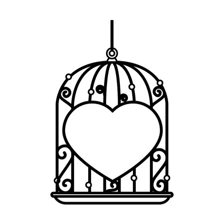 Cage with heart icon vector illustration design. 向量圖像