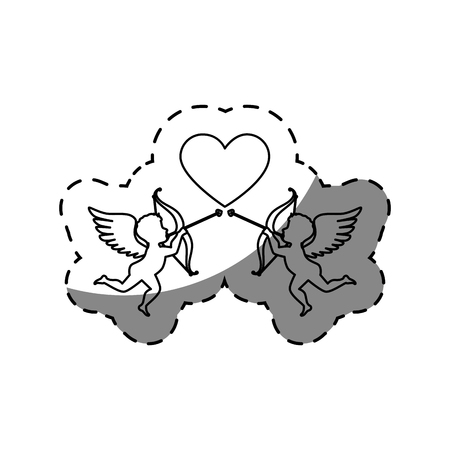 love card with cupid angel vector illustration design