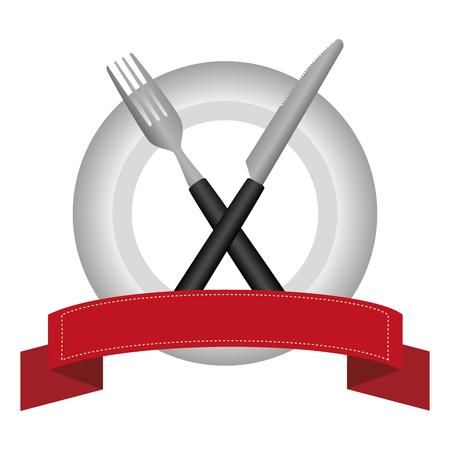 Artistic kitchen cutlery tools icons vector illustration design with red ribbon.