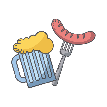 Beer jar and fork with sausage, USA independence day related icons. Illustration