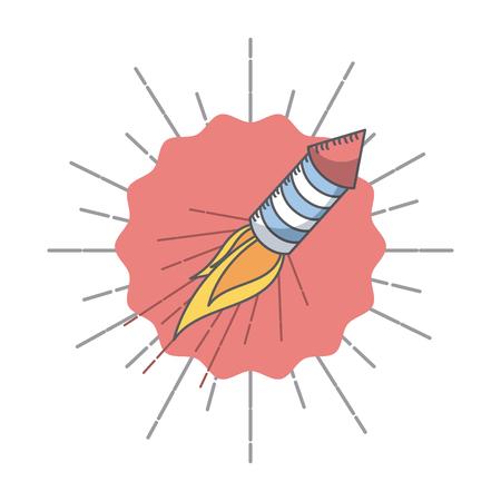 rocket fireworks icon over white background. colorful design. vector illustration