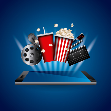 Cinema related icons over blue design illustration.