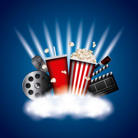 cinema related icons over blue background. colorful design. design. vector illustration