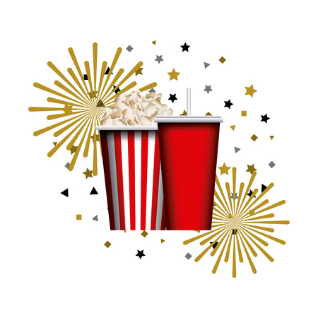 Pop corn bucket and soft drink cup over white colorful design illustration.