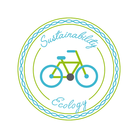 Seal stamp with bicycle icon - save the planet concept. Illustration