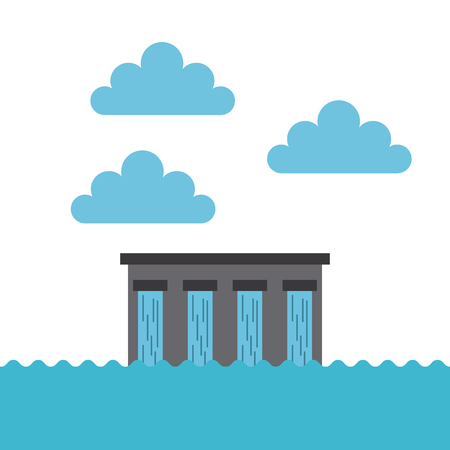 dam: Water dam and clouds - save the planet concept. Illustration