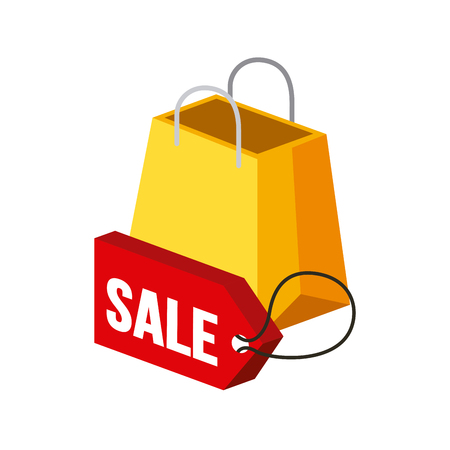 millimeters: Shopping bag and sale tag isometric icon over colorful design illustration.