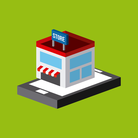 millimeters: Phone and store isometric icon over green background colorful design illustration.