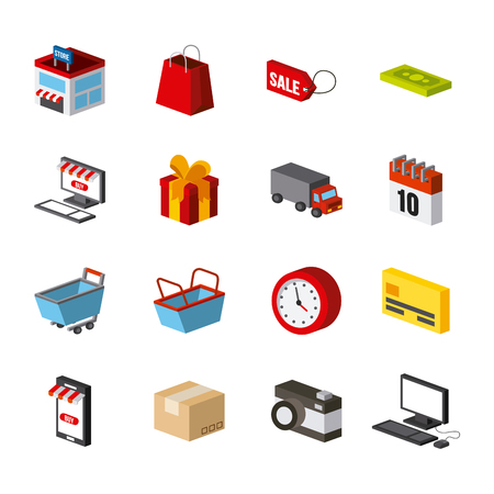 millimeters: Shopping isometric related icon set colorful design illustration.