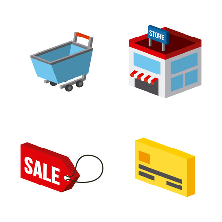 millimeters: Shopping isometric related icons over white background. colorful design. vector illustration Illustration
