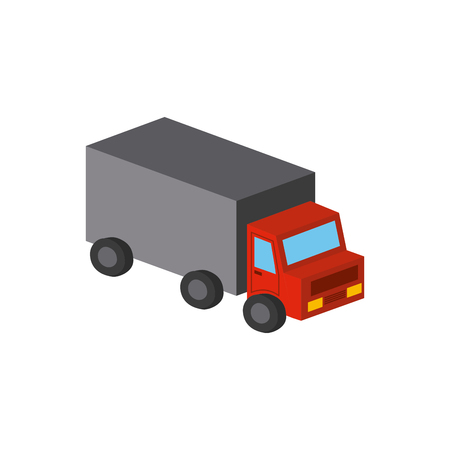 cargo truck isometric icon over white background. colorful design. vector illustration