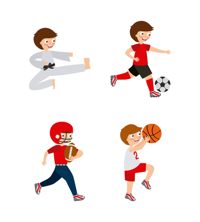 kids practicing sports, cartoon icons over white background. colorful design. vector illustration