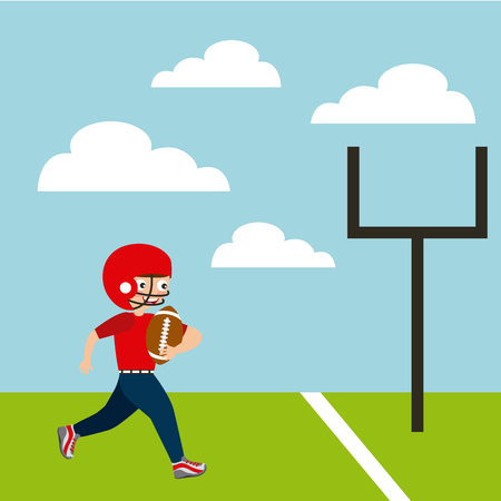 boy playing american football, cartoon icon over landscape background. colorful design. vector illustration Illustration