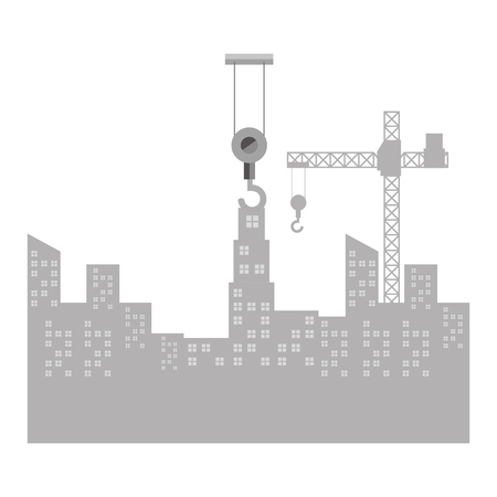 Illustration of a cityscape with construction crane isolated icon vector illustration design