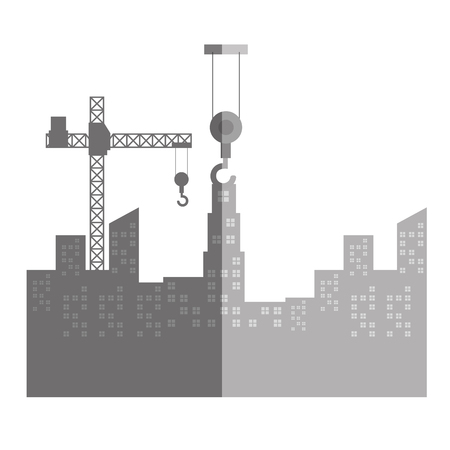 elevate: cityscape with construction crane isolated icon vector illustration design