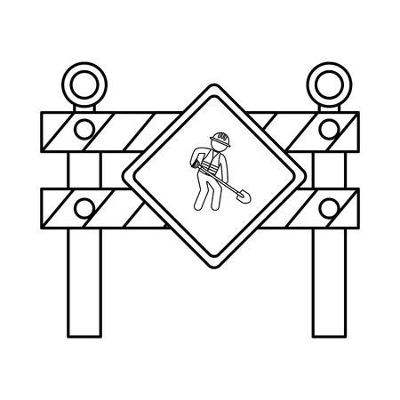 dangerous work: construction barrier isolated icon vector illustration design