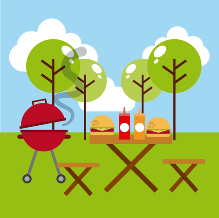 barbecue grill, picnic table with fast food. colorful design. vector illustration