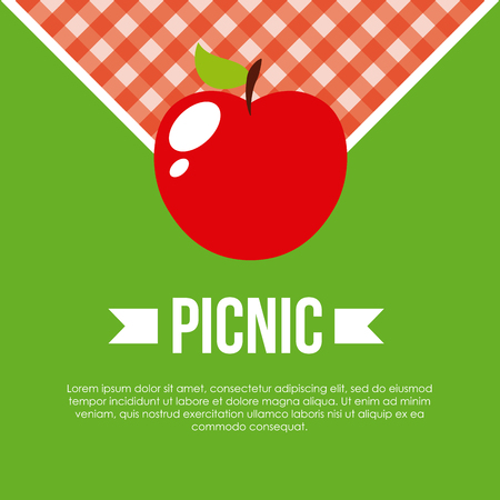 infographic presentation of picnic with apple icon over green background. colorful design. vector illustration