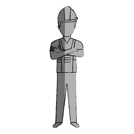 arquitecto caricatura: construction worker avatar character vector illustration design