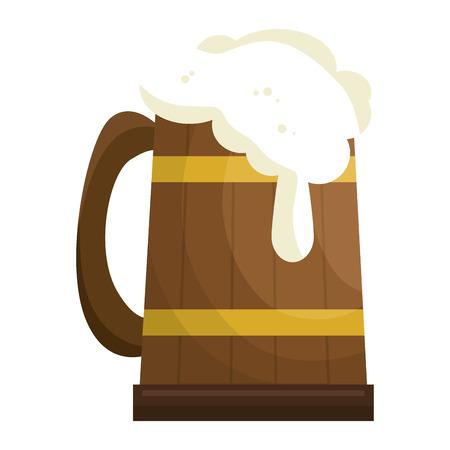 jarra de cerveza: cerveza en frasco de madera ilustración vectorial diseño Vectores