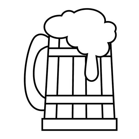 etch glass: beer in wooden jar vector illustration design