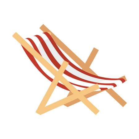 recliner: chair beach isolated icon vector illustration design