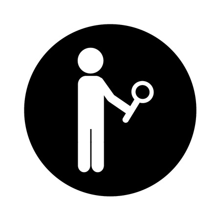 human figure with search magnifying glass icon vector illustration design Çizim