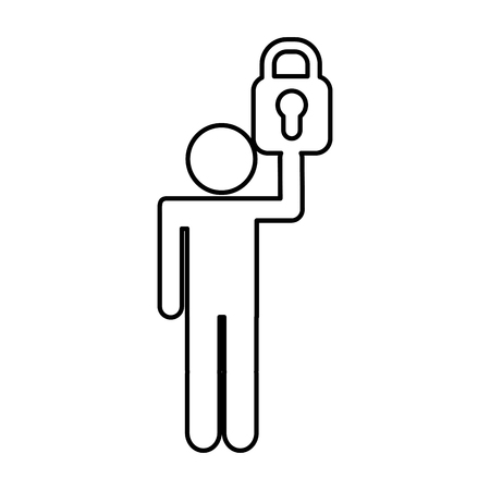 human figure with safe padlock isolated icon vector illustration design