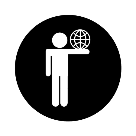 human figure with sphere planet isolated icon vector illustration design