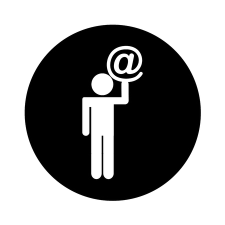 human figure with arroba symbol isolated icon vector illustration design