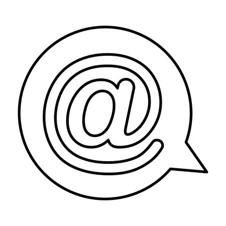 speech bubble with arroba symbol isolated icon vector illustration design
