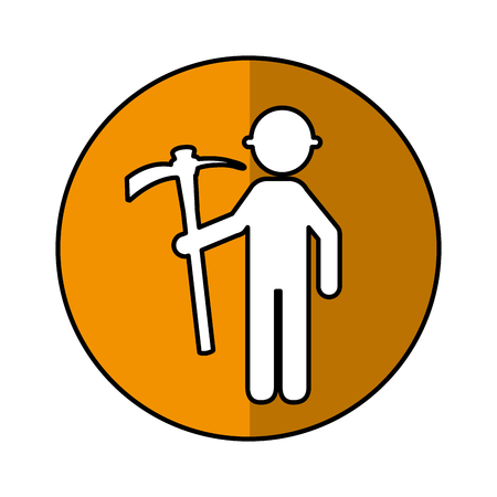 construction worker with pick avatar vector illustration design