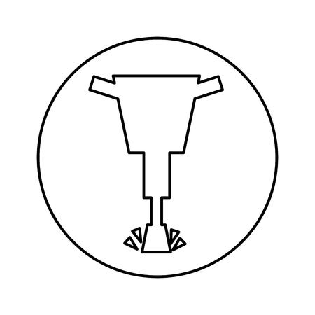 油圧ハンマーのアイコン ベクトル イラスト デザインを分離しました。