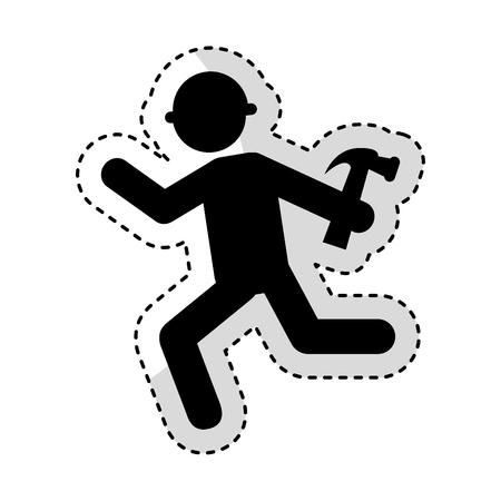 construction worker with hammer avatar vector illustration design