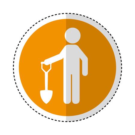 labourer: construction worker with shovel avatar vector illustration design Illustration