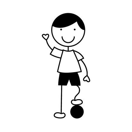 cute little boy with soccer ball character vector illustration design