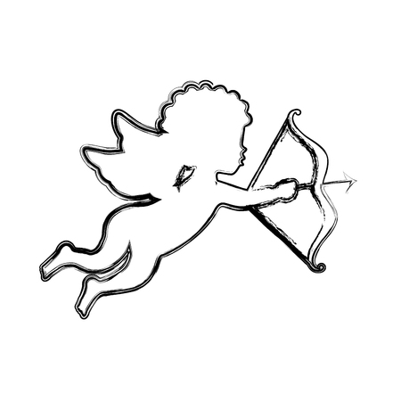 cupid angel silhouette icon vector illustration design