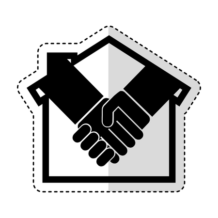 house silhouette with handshake isolated icon vector illustration design